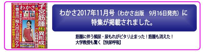 わかさ(わかさ出版)2017年11月号(9月16日発売)に特集掲載される。