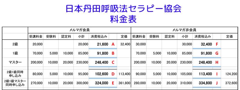 日本丹田呼吸法セラピー協会料金表